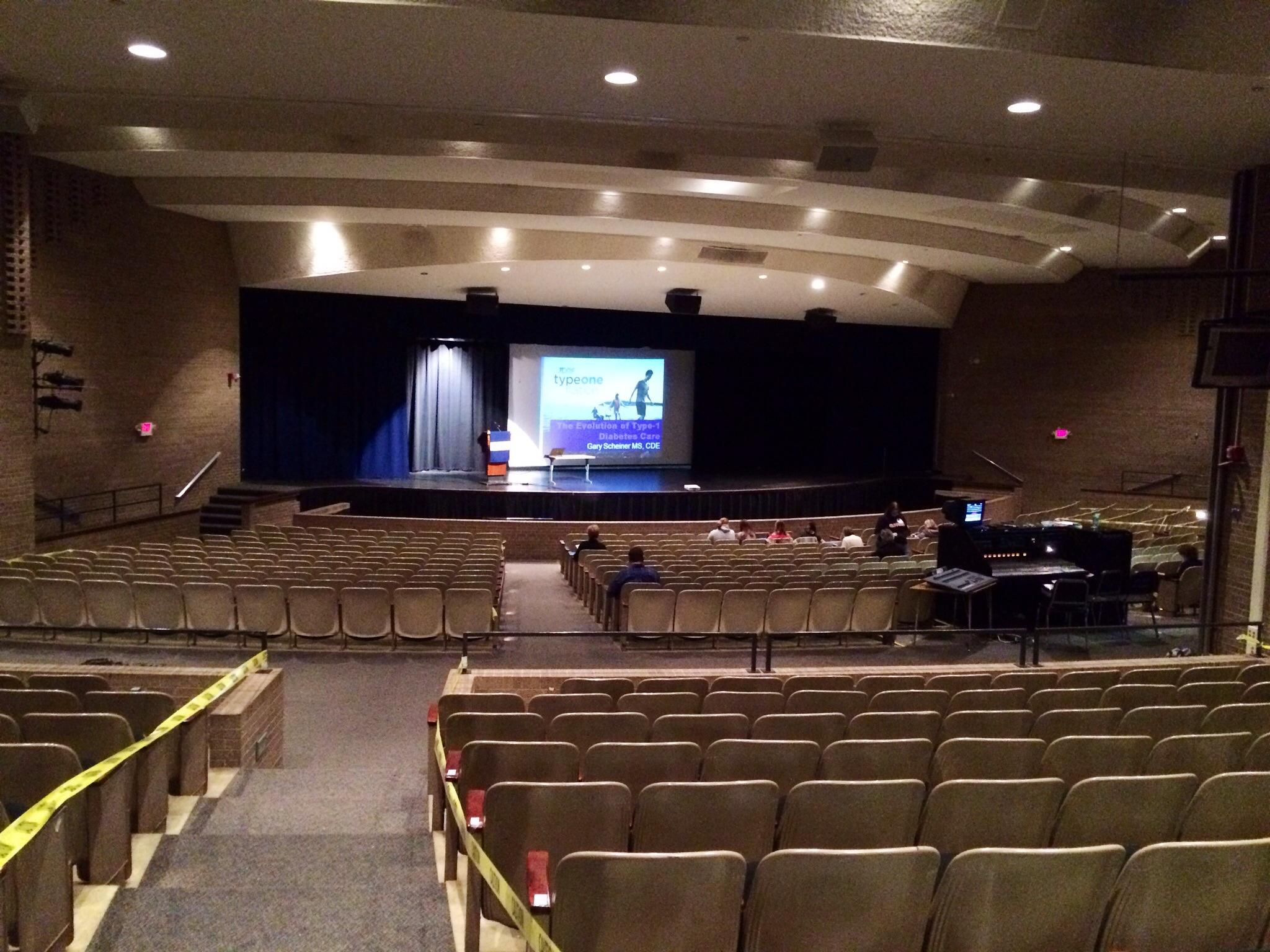 Arriving early: empty auditorium!